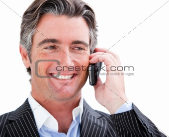 Charming businessman holding a phone