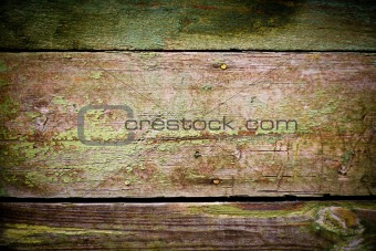 green paint on the wood