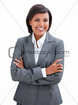 Positive businesswoman with folded arms standing