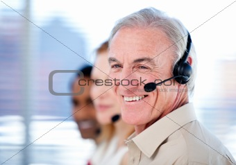 Self-assured sales representative team with headsets