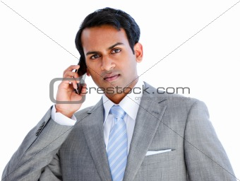 Positive businessman taking a phone call
