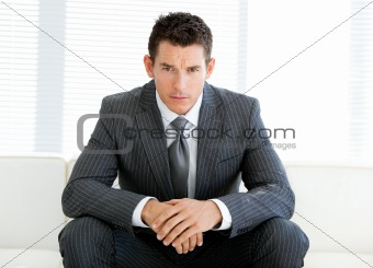 Charismatic male executive in a waiting room