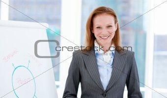 Jolly businesswoman doing a presentation