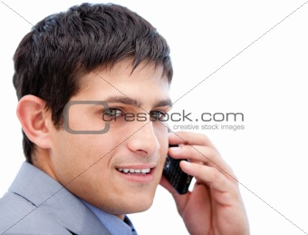 Chaming businessman talking on phone
