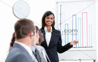 Charming businesswoman pointing at a white board