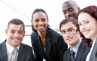 Smiling business group showing ethnic diversity