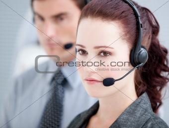 Attractive woman working in a call center