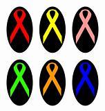 Set of colorful awareness ribbons