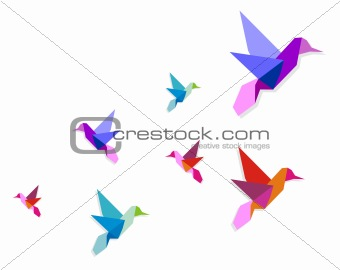 Group of various Origami hummingbirds