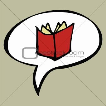 Cartoon red open book in text balloon