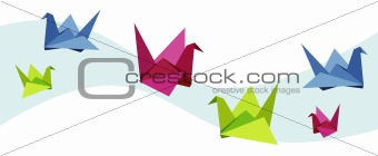 Group of various Origami swan