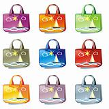 isolated colored bags set