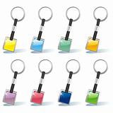 isolated colored key chain set