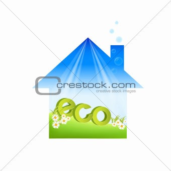 green  house isolated in white background