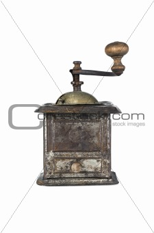 Old coffee grinder isolated