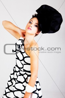 Young Woman in Haute Couture Attire