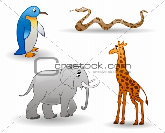 Animals: penguin, giraffe, snake, elephant