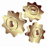 3D gears in gold