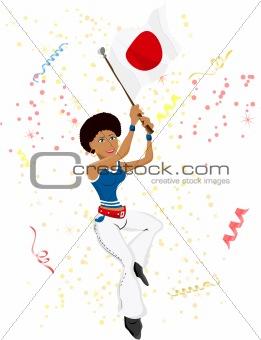 Black Girl Japan Soccer Fan with flag.