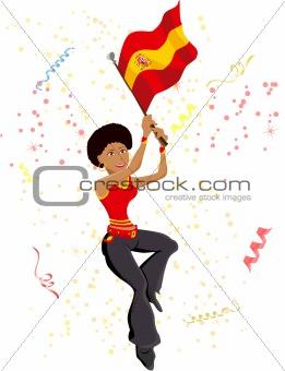 Black Girl Spain Soccer Fan with flag.