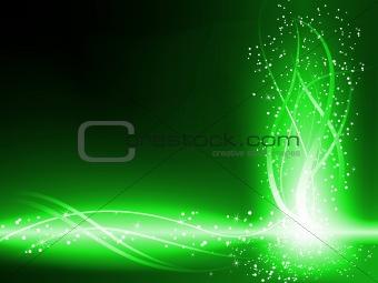 Green Background Stars Swirls