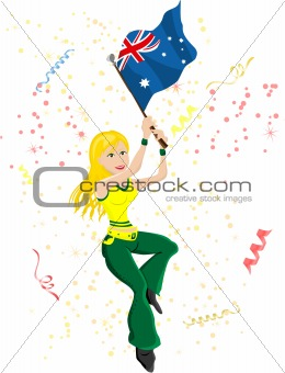 Australia Soccer Fan with flag
