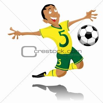 Black Soccer Player Celebrating Goal.