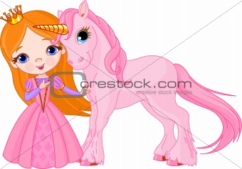 Beautiful princess and unicorn