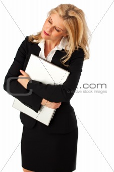 business woman with a notebook computer isolated on white
