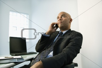 Businessman on cellphone.