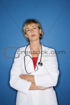 Caucasian female doctor.