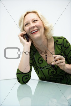 Businesswoman talking on cellphone