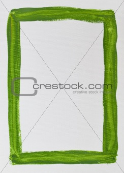 green frame painted on white canvas