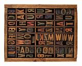 alphabet in antique wood letterpress types