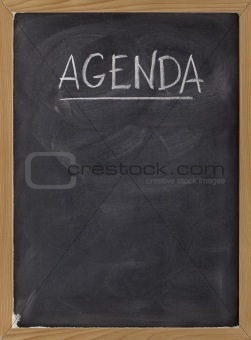 agenda - blank blackboard sign