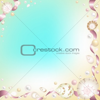 Background with Starfish, Shells and Pink Ribbons