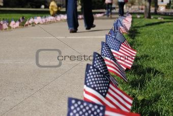 Flags along walkway