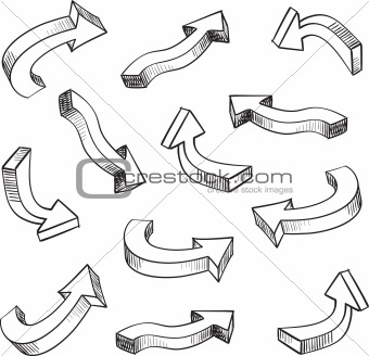 3D arrow sketchy design elements set vector illustration