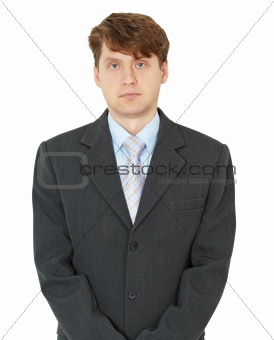 Portrait of ordinary young man on white background