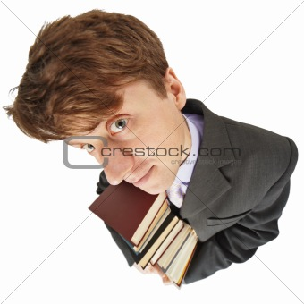 Amusing guy with library books in hands