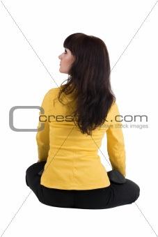 beautiful businesswoman exercising yoga.
