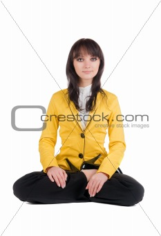 beautiful businesswoman exercising yoga .