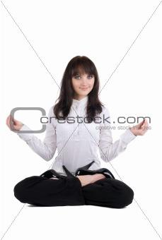beautiful businesswoman exercising yoga