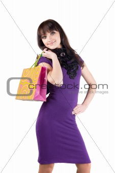 beautiful woman with shoping bags.