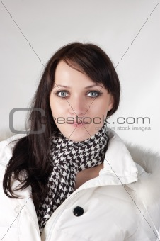 beautiful happy woman in winter clothes.