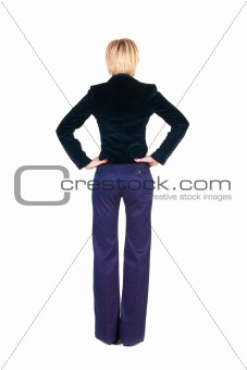 Blonde businesswoman. Rear view .