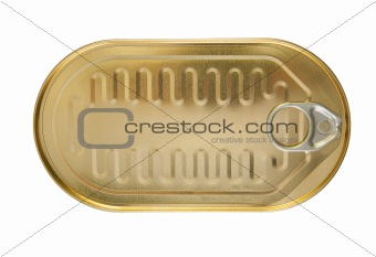 closed gold metal tin