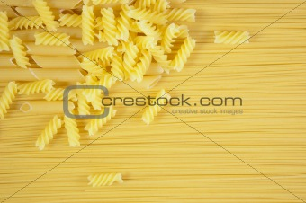 Background of Macaroni on long spaghetti.