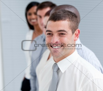 Positive business partners standing in a line