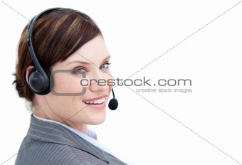 Bright businesswoman with headset on